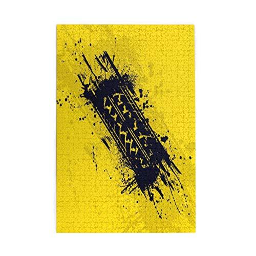 Rompecabezas de imágenes coloridas para niños de 1000 piezas de madera - Resumen negro neumático pista silueta tinta manchas ordenador coche