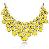 JANE STONE Fashion Statement Collar Necklace Vintage Openwork Bib Costume Jewelry (yellow)