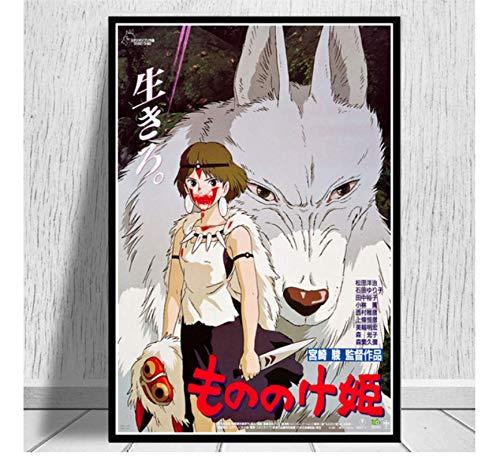ZJYWYCN Poster Affiche Ghibli Princesse Mononoke Film Anime Affiche Imprime Peinture à l'huile Art Toile Mur Photos décor à la Maison 50 * 70 cm Pas de Cadre