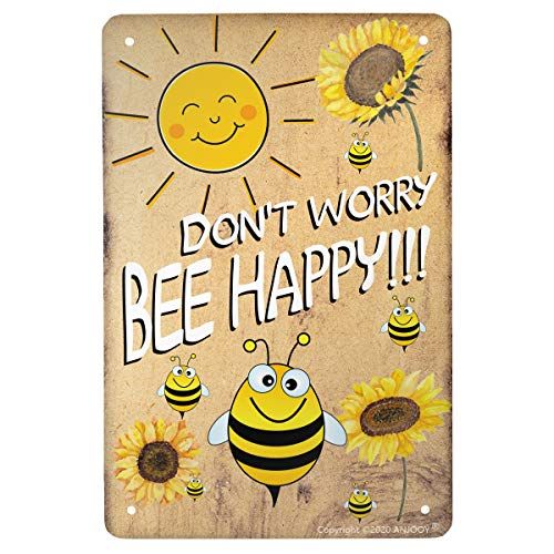 """ANJOOY Tin Sign - Dont Worry Bee Happy - Vintage Style Cafe Home Iron Mesh Fence Farm Supermarket Bar Pub Garage Hotel Diner Mall Forest Garden Door Wall Decor Art - 8""""x12"""