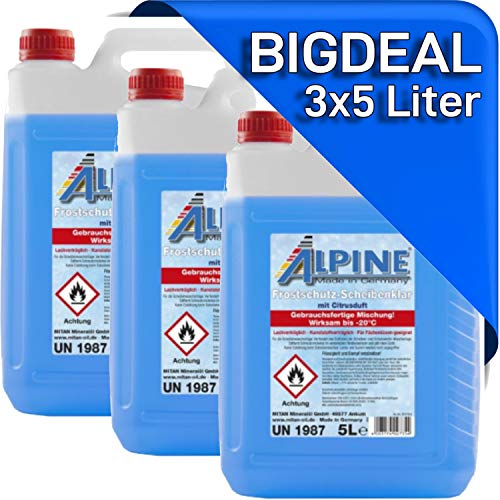 Scheibenklar 3X 5 Liter gebrauchsfertiges Frostschutzmittel für die Scheibenwaschanlage Scheibenfrostschutz fürs Auto. -20°C 15 Liter