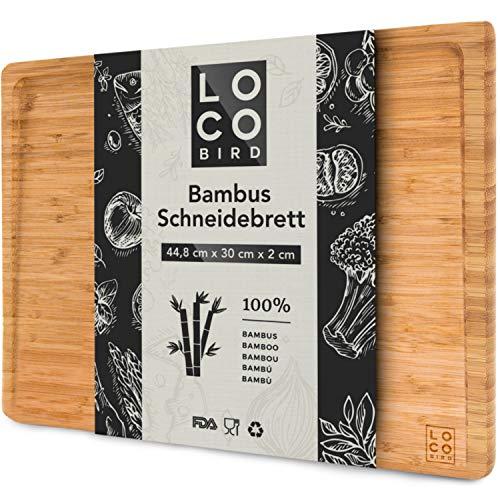 Loco Bird planche à découper en bambou massif avec rainure à jus - planche à découper bois de 44,8x30x2 cm - planche en bois pour la cuisine