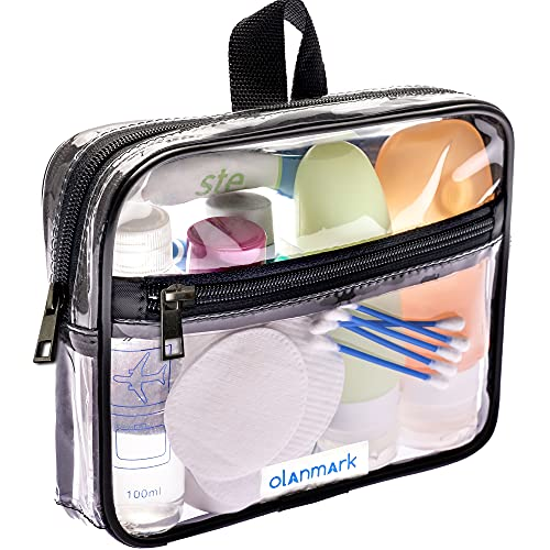tsa toiletry bags TSA Approved Toiletry Bag 3-1-1 Clear Travel Cosmetic Bag with Handle - Quart Size Bag with Zipper - Carry-on Luggage Clear Toiletry Bag for Liquids - Airport Airline TSA Compliant Bag for Man Women