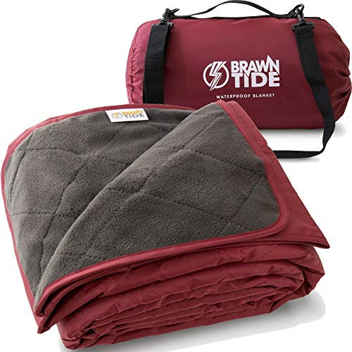 Brawntide Large Outdoor Waterproof Blanket - Quilted, Extra Thick Fleece, Warm, Windproof,...