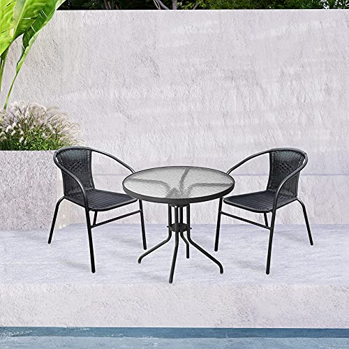 Lewis's Milano Rattan 3 Piece Bistro Garden Furniture Set | Black Or Grey Outdoor Patio Chairs And Steel Table For Al-Fresco Dining, BBQ's (Black)