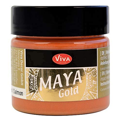 Viva Decor Maya Gold (Saumon,45ml) Couleur métallique - Peinture Brillante pour activité créative - Peinture Acrylique pour Bois, Carton, béton, Papier, Toile sur Chassis ect…