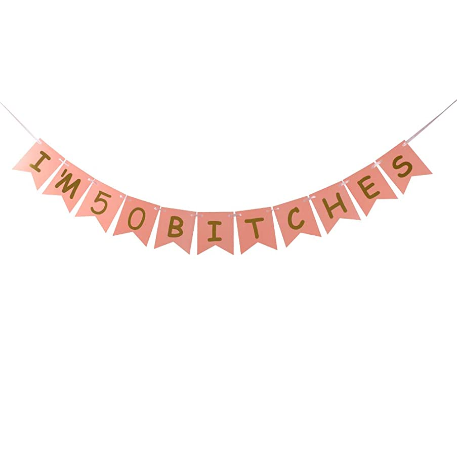 I'm 50 Bitches Banner Pink Card Gold Glitter Letters Special Offer for 50th Birthday Decorations Pink Card Pertlife