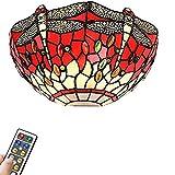 FSLIVING Lámpara LED de 55 lúmenes con mando a distancia, funciona con pilas, lámpara de pared regulable inalámbrica Tiffany Dragonfly roja para sala de lectura en la cama, funciona con 3 pilas AA