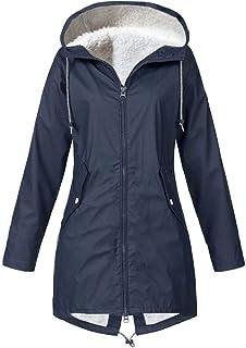Darringls Regenjas voor dames, lange winterjas, dikke lange jas, aangenaam donsjas, warm, functionele jas, duurzame kunstl...
