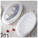 Fish Steamer/Poacher with White Base Clear Lid Microwave Fish Steamer Large Plate Steaming Tray - Plastic Microwave Container Healthy Prep Cooking Solutions Tool Kitchen Craft Accessories