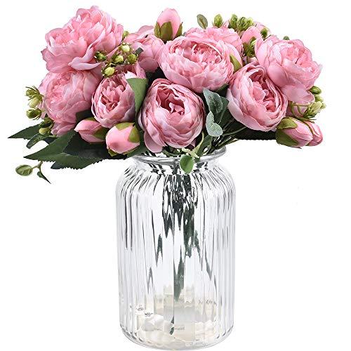 XONOR 4 Ramos de Flores de Seda de peonía Artificial Falsa Flor Gloriosa para el Banquete de Boda Nupcial decoración del hogar, 5 Tenedores, 9 Cabeza