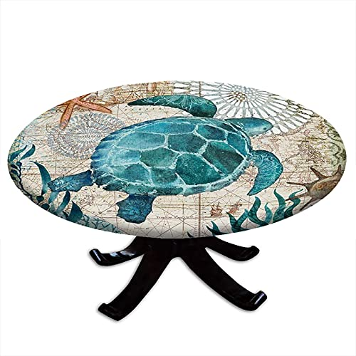 Round Tablecloth with Elastic Edges, Nautical Blue map Navigation of sea Creatures sea Turtle Design Fits Tables 24' - 28' Diameter
