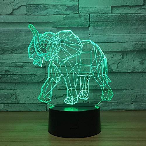 Ilusión Óptica 3D Led Luz Lámpara De Tabla Para Decoración Del Hogar Elefante 7 Colores Cambio De Botón Táctil Y Cable Usb Navidad Cumpleaños Regalo