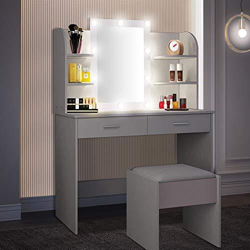 OUNUO Schminktisch mit Beleuchtung Hocker und Spiegel LED Frisiertisch Kosmetiktisch mit 10 LED-Glühbirnen, 3 Beleuchtungsmodi, 2 Schubladen und Fächern