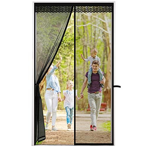 Cortina Mosquitera Puerta Corredera con Cenefa Decorativa Mosquiteras para Puertas Cierre Magnético Automático Patio Puerta Mosquitera Magnetica Fácil de Ensamblar Autoadhesivo 90 x 210cm Negro