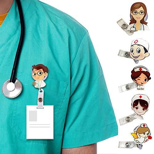 Hebilla Telescópica, 6 Piezas Insignia Retráctil de Enfermera Médico, Porta Credencial de Enfermera, Insignia de Dibujos Animados de Hospital Para tTrabajador Médico, Cosplay, Regalo