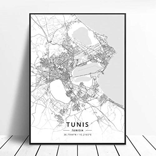 Póster Mapa del Arte de la Lona de la latitud Longitud de Túnez de Túnez en Blanco y Negro 50x70cm Sin Marco AQ-611
