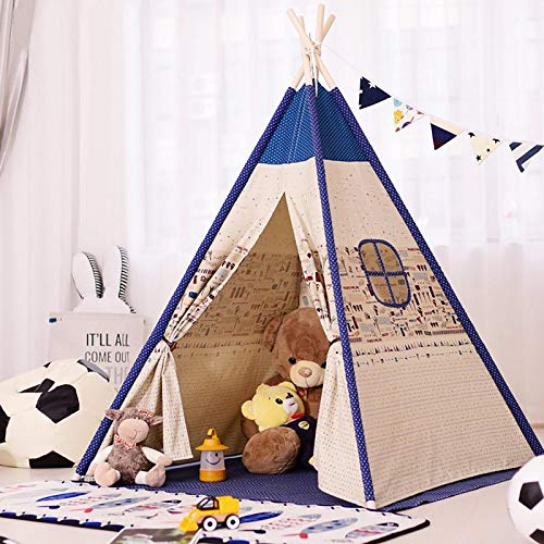 VAN+ Teepee Tent for Kids Foldable Children Play Tent Toy Indian Style for Girl and Boy, 4 Poles Cotton Canvas Playhouse Toy for Indoor and Outdoor Games