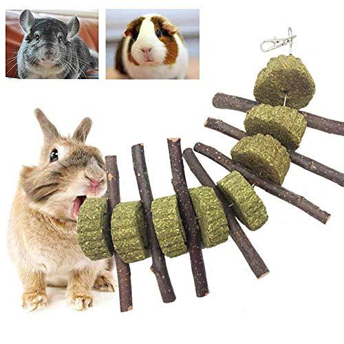 Sqiuxia Juguete para masticar conejo, mejora la salud dental, varillas orgánicas 100% naturales, hechas a mano, apto para conejos, chinchillas, cobayas, hámsters, masticar jugar