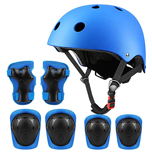 Middons Kids Protective Gear Set, Sport Protective Gear Set Boy Girl Adjustable Child Cycling Helmet with Knee Pads Elbow Pads Wrist Guards Youth Skateboard Helmet for 3~10yrs Boys Girls(Blue)