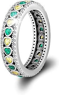 خاتم من الفضة الإسترلينية من CKK 925 مع كريستال شفاف للرجال، خواتم رائعة للمراهقين (تاج زمردي، 5)
