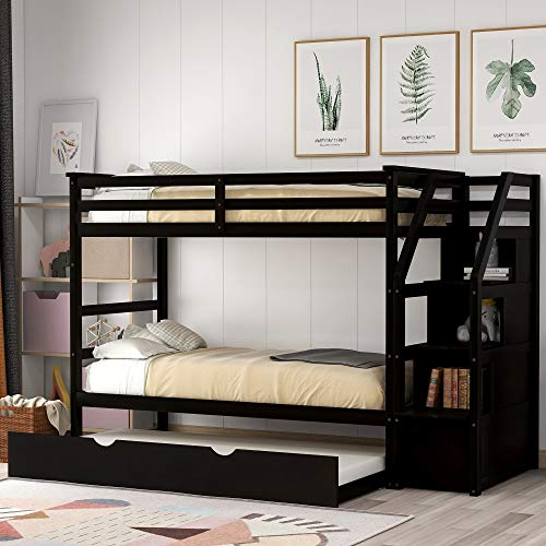 Merax Solid Wood Bunk Bed Frame No Box Spring Needed with Guardrails, Ladder and Storage Stairs for Kids and Teens Trundle, Twin/Twin, Espresso