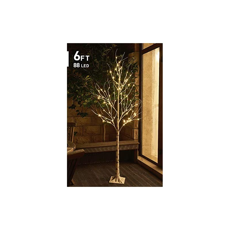 silk flower arrangements eambrite 6ft 88lt warm white led winter artificial birch wedding christmas home decorative tree light for indoor and outdoor use