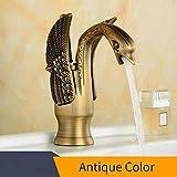 Cobre Cuenca Grifos nuevo diseño cisne del grifo de oro chapado lavabo grifo de oro de lujo del hotel griferías caliente y fría Grifos HJ-35K, antiguo