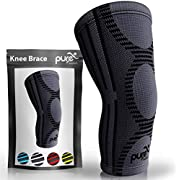 Pure Support Knee Brace Compression Sleeve Support   Patella Stabilizer for Meniscus Tear   Arthritis Pain for Running   Crossfit   Sports   Women   Men (Black and Gray, Large)