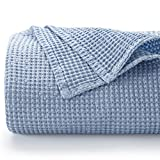 Bedsure 100% Cotton Blanket - Bed Blanket with Waffle Pattern for Home Decoration - Perfect for Layering Any Bed for All-Season - King Size (104 x 90 inches), Blue