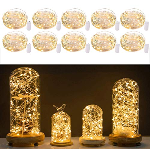 10 Pack Led Fairy Lights Battery Operated String Lights Waterproof Silver Wire 2M 20 Led Firefly Starry Moon Lights for DIY Wedding Party Bedroom Patio Christmas Warm White