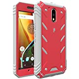 Poetic Moto G4 Case, Revolution Series [Premium Rugged][Shock Absorption & Dust Resistant] Complete Protection Hybrid Case w/Built-in Screen Protector for Motorola Moto G4 (2016) Pink/Gray