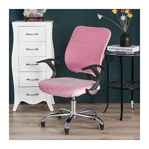 W-L Bürostuhl Bezug Velvet Split-Stuhl-Abdeckung Büro Business Computer Swivel Hussen elastische Universal-Slipcovers Spandex Dekorative Arm Chair (Color : Pink, Size : Back and Seat Cover)