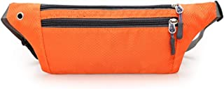 Men's and Women's Sports Leisure Waist Pack, Multifunction Outdoor Sport Waist Pack Waterproof Fabric Breathable, with Headphone Jack for Cycling Sport Travel, Mountain Climbing (Color : Orange)