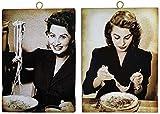 KUSTOM ART Juego de 2 cuadros de estilo vintage con los famosos de una Juvenil Sofia Loren – Impresión sobre madera para decoración, restaurante, pizzería, bar, hotel