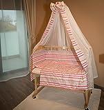 Cunita con abertura lateral 90x40cm, rayas rosa