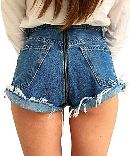 iRachel Damen Short Hotpants Demin Short Kurze Hose Summer Hole Distressed Jean Shorts