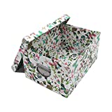 GUOZI Collapsible Storage Box, Decorative Memory box with Lid & Metal Reinforced Corners, Cardboard File Box with Handles, Organizer Gift Box for Keepsake Toy Photos Office Nursery Wardrobe Bookshelf