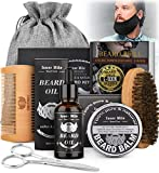 Beard Growth Kit,Beard Kit with Beard Guard,Beard Growth Oil,Care Balm,Boar Bristle Brush,Wooden Comb, Mustache Scissors,Storage Bag,Beard Grooming & Trimming Set Gifts for Him Men Dad Boyfriend