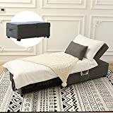 Zenosyne Sleeper Chair 4 in 1 Multi-Function Convertible Chair Bed Adjustable Guest Bed Ottoman Bed with Linen Fabric Folding Futon Chair Lumbar Pillow for Living Room Bedroom(Grey)