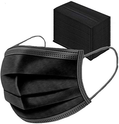 Leeyyo 50 Stück, schwarz, dreilagiger Vliesstoff, Gesundheit/Sauber/Outdoor, für Mädchen/Frauen/Erwachsene., schwarz