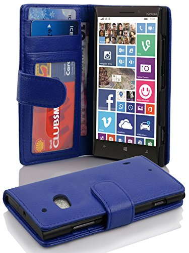 Cadorabo Hülle für Nokia Lumia 929/930 in Neptun BLAU – Handyhülle mit Magnetverschluss & 3 Kartenfächern – Hülle Cover Schutzhülle Etui Tasche Book Klapp Style