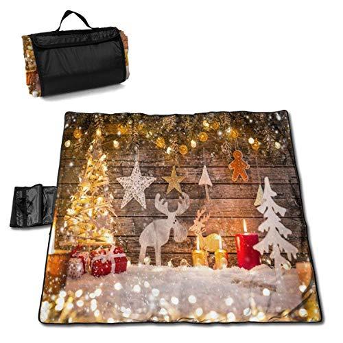 Suo Long Décoration de Noël sur Une Couverture en Bois de Pique-Nique avec Un Tapis de Pique-Nique en Plein air pour Le Camping Beach Park Lawn
