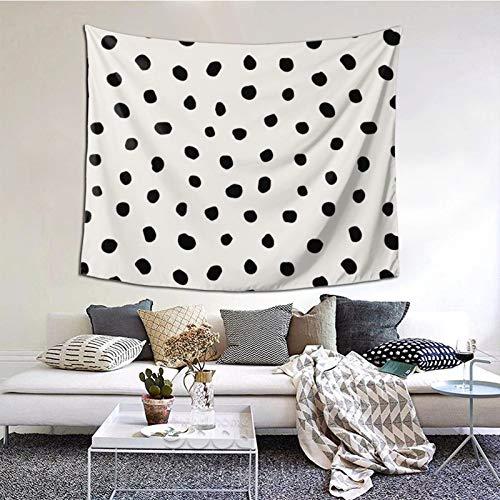 KCOUU Tapiz de pared para colgar en el dormitorio, diseño moderno de lunares, color negro sobre gris claro, para cubrir la pared, colcha de picnic, manta de pared, decoración de arte