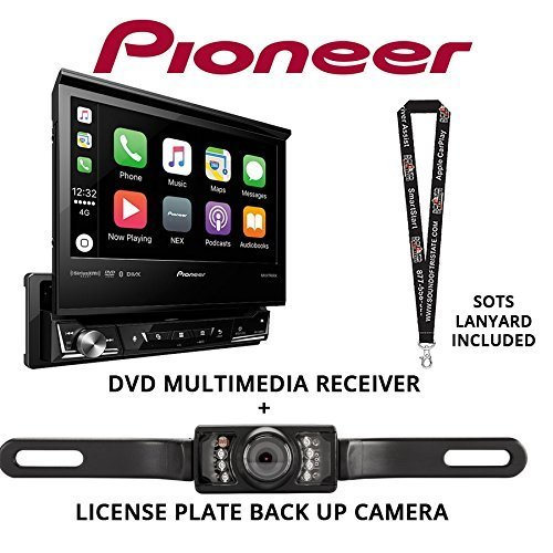 Pioneer AVH-3300NEX 7' Single Din DVD Receiver Apple CarPlay Built in Bluetooth with License Plate Style Backup Camera and a Free SOTS Lanyard