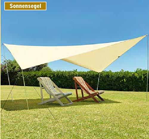 DeFacto Sonnensegel 430x350 cm mit UV60+ Sonnenschutz Camping Sonnendach Outdoor Markise✔Tragetasche ✔Aufstellstangen ✔Abspannleinen ✔Heringe✔ wasserdicht 200cm Wassersäule ✔Farbe:Sand