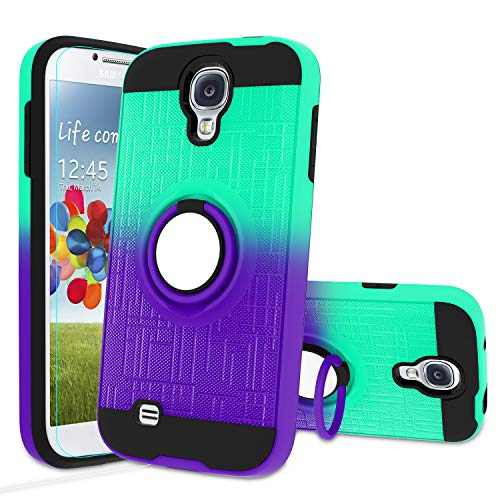 Atump Galaxy S4 Case, Galaxy S4 Phone Case with HD Screen Protector, 360 Degree Rotating Ring Holder Kickstand Bracket Cover Phone Case for Samsung Galaxy S4 Mint/Purple