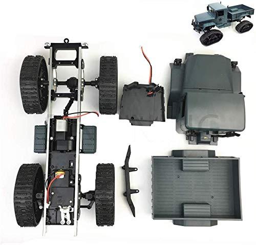 Mnjin DIY programmierbare Roboter Military Truck 4WD Klettern DIY Modified Car Kit, Geländegängige Gummikettenrad Roboter Chassis mit Abdeckung, für DIY Spaß