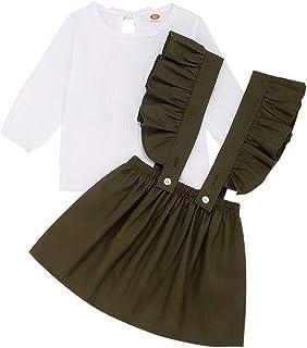 FUTERLY Girls Skirts Set Toddler Baby Girl Ruffle Strap Skirt + Long Sleeve T-Shirt Tops Perfect Fall Outfits Set 90