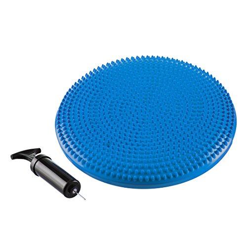 Ultrasport Ballsitzkissen orthopädisch / Balance Kissen mit Noppen, phtalatfrei – Noppenkissen inklusive Luftpumpe, als Bürostuhlunterlage oder für Gymnastik, Blau, 33 cm